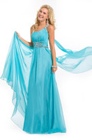 Reference Images One-Shoulder Chiffon New Arrival Sexy evening Dresses beaded dress New 2013 a-line strapless aqua Prom Dresses P423