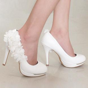 2103 Beautiful White Flower Wedding Shoes High Heels Waterproof