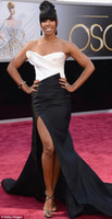 kelly rowland dress - Kelly Rowland th Annual Academy Awards Red Carpet Pageant Dress Black and White Side Slit