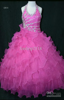 Halter Beads Organza Halter Purple Multi Little Rosie Pageant Dress Gown Ball flower girl dress