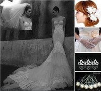 Wholesale 2013 Sexy Strapless Beaded Lace A Line Wedding Dresses Free Veil Hair Pins Gloves buy get