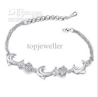Wholesale Silver Anklets Chain Individuality Anklets Bracelet Dangles Charms Dolphin Anklets Body Jewelry mg08