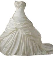 Wholesale Most Discount beaded lace applique taffeta White bride wedding dress bridal dress bridal gown bridesmaid dress