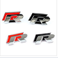 Wholesale Metal D R Chrome Emblems For VW Black and Red Car Badge Stckers Bumper Stickers