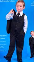 Boy Groom Smokings Veste de costume + Pantalons + Tie / bow tie + Gilet + chemises Costumes de mariage Costume Dress 5 pcs set # 2692