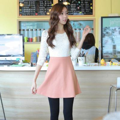Korean Style Fall Clothing Women Cute White Lace Tops Patchwork Pink Bottom Dress Long Sleeve