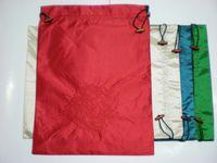 Shoe Care Kit drawstring shoe bag - New Design Embroidery Dragon Large Shoe Dust Bag Satin Fabric Reusable Drawstring Shoe Case Covers Mix Color free