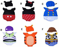 Wholesale Fashion new style baby rompers cartoon style short sleeve One Pieces with hat baby suit