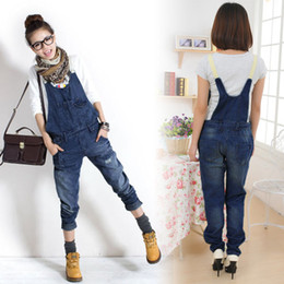 Wholesale Womens Girls Washed Casual Hole Jumpsuit Romper Overall Denim Pants