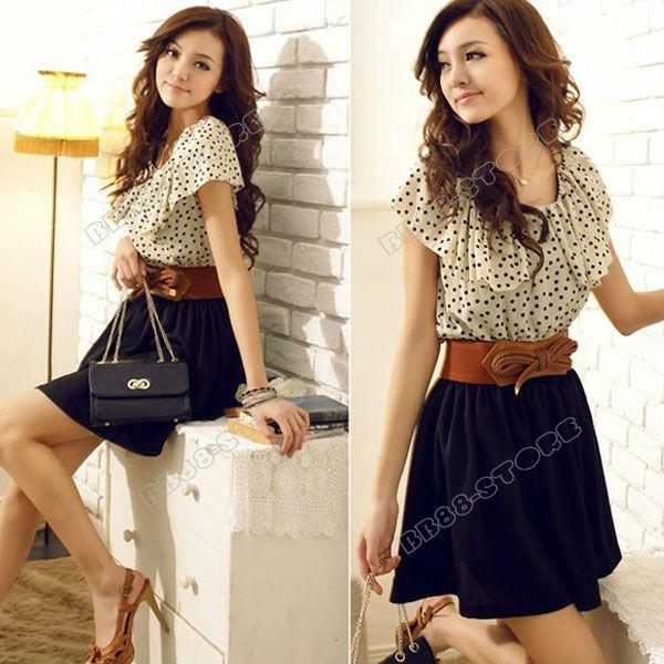 Dresses New Womens Summer Beige Short Sleeve Chiffon Ruffles Dots ...