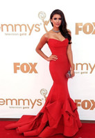 Wholesale Nina Dobrev th Emmys Awards Red Carpet Sweetheart Red Mermaid Celebrity Dresses EM03
