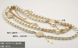 Wholesale New Women Golden Chain Hollow out Roses Double Pearl Sweater Chain Necklace LY2