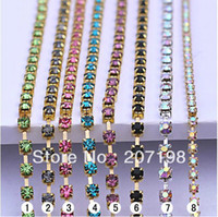 Wholesale 3mm ss10 crystal rhinestone diamond cup chain strass chain MC chaton cup chain colors mix