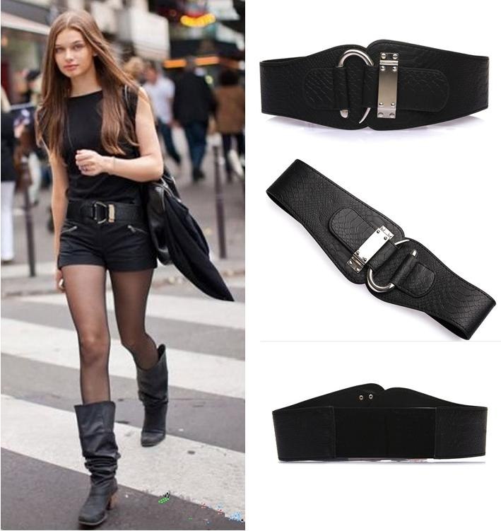 Wide Fashion Belt Womens Fashion Snake Skin Faux
