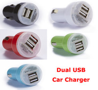 Wholesale Dual Port USB Car Charger V A A Adapter for ipad iPhone PDA MP3 MP4 Phone DHL