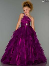 Beautiful little girl beauty pageant dress one shoulder beads dress PROM dress custom size 2 4 6 8 10 12 14