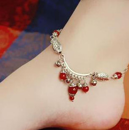 Ethnic Style Bohemian Black Red Agate Anklet Silver Bell Anklet