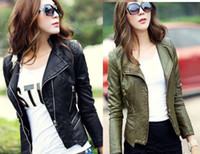 Wholesale Army Green and Black Womens Punk Studded Shoulder PU Leather Jacket Coat Jacket S XL