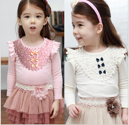 Wholesale 2 Year girls clothes Kids T Shirts Super beautiful Princess system lace children Primer shirt