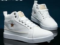 Lace-Up hip hop shoes - White gold Men s High top Sports shoes hip hop shoes casual Men s Shoes Canvas Boat Shoes