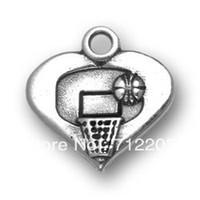 Unisex antique basketball hoop - free ship a fashion cheap antique silver basketball and hoop heart sports charm
