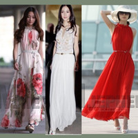 Wholesale Hot chiffon white dress maxi dress party dress evening dress Bohemian beach dress with belt