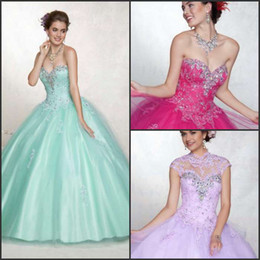 Wholesale 2013 Newest shining quinceanera dresses rhinestone applique ball gown lilac sweetheart lace sweep