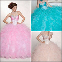 Wholesale Princess pink blue quinceanera dresses sweep train rich flouncing ball gown lace up rhinestone beads