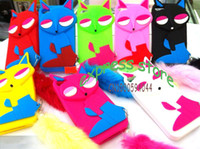 Wholesale 30pcs newest D cartton case for iphone4S cute Fox with Tail Silicon Case for iPhone S free