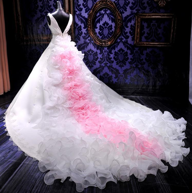 Pink and white wedding dresses for sale junoir for White with pink wedding dresses