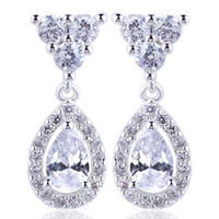Wholesale Lady Shining Pear White Topaz Dangle Piercing S925 Sterling Silver Earrings NAL E037