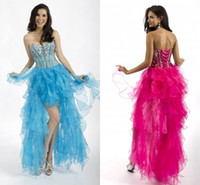 Wholesale Light Sky Blue Sweetheart Organza Multilayered Man made Crystal Hi lo Cocktail Dresses SexyGown