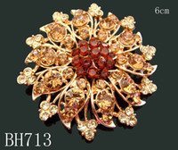 Wholesale Hot Sale Gold plated crystal rhinestone alloy flower brooch rhinestone jewelry Mixed colors BH713