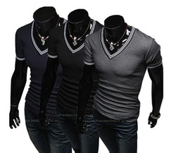 Wholesale 2013 Hot New men s t shirts Men s Slim Casual Collar Splice Short Sleeve T Shirts