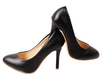 Wholesale Excellent New Black Color PU Leather Shoes Ladies Women s High Heels Platform shoes Dress shoe