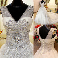 Wholesale New V neck Beading Sequin Crystals Court Train Bling Biling Bandage Corset Ball Gown Wedding Dresses