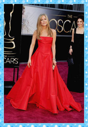 Wholesale 2013 Golden Globes Jennifer Aniston Celebrity Dress A line Strapless Red Evening Dresses