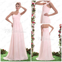 Model Pictures Hand Made Flower One-Shoulder Floral One shoulder ruched A-line Chiffon Light Pink Bridesmaid dresses Lady's Formal Dresses AG247