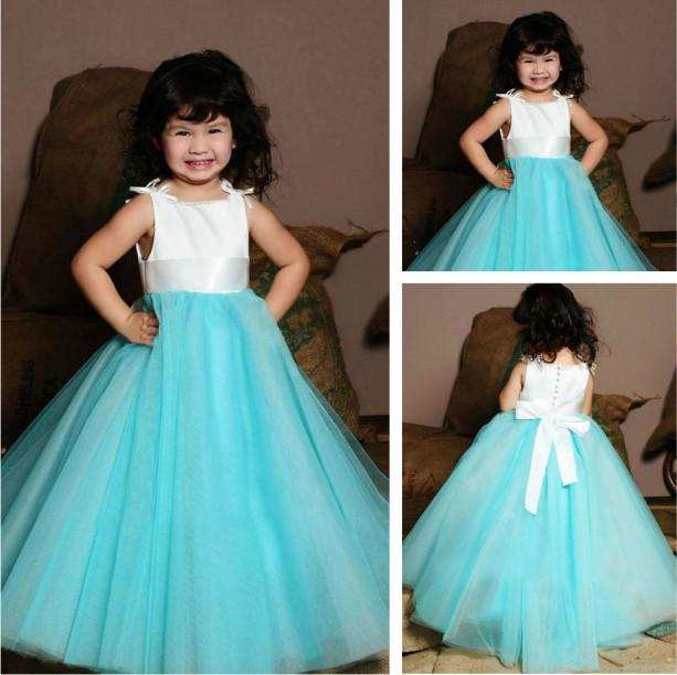 Soft Lovely A Line Tulle Evening Gowns For Kids Brown Evening ...
