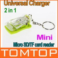Universal keychain with rings - Multifunctional Mini USB Universal Charger Micro SD TF card Reader with Key Ring keychain PA1376