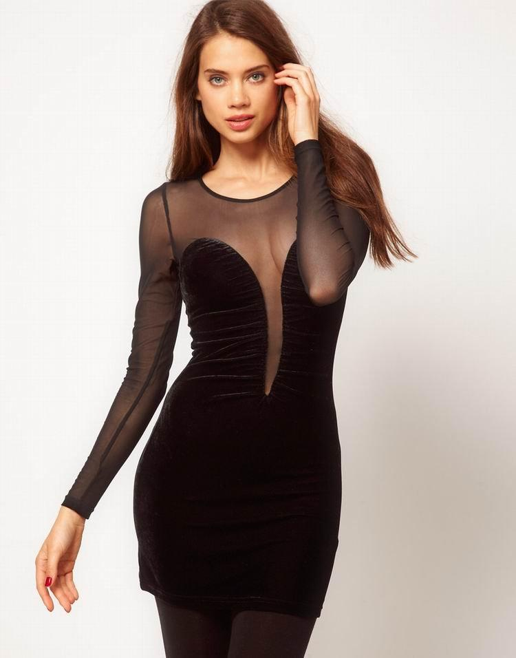 Black Sexy Mesh With Velvet Dress For Women With High Quality Lace ...