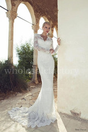 Wholesale Long Sleeves Mermaid Lace Wedding Dresses with V Neckline backless Romantic mermaid gown