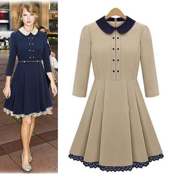Dresses Vintage Peter Pan Collar Solid Knee-length Casual Ladies ...