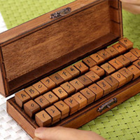 Wholesale Retro Letter amp Number Pattern Diary Stamps Set with Wood Box