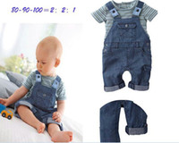 Wholesale Boys Outfits Strap Dress Short Sleeve T Shirt Boy s Suspender Jean Trousers Cotton