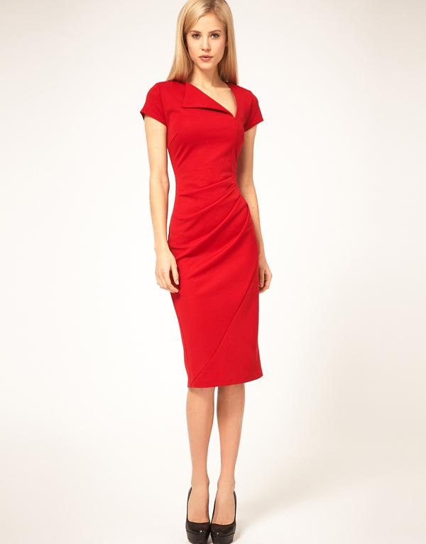 Women&39s Fashion Dress Asymmetrical V-neckSlim Fit Black/Red ...
