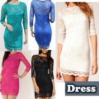 Wholesale New Arrival Stylish Bodycon Lady Women Lace Dress Slash O Neck Cocktail Evening Mini Dress G0096