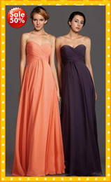 Wholesale 2016 Stock OFF Coral Bridesmaid Dresses Fashion Sweetheart Empire Chiffon Floor length Beach Style Cheap Long Prom Party pageant Dress