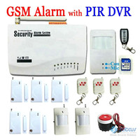 Wholesale 2 in English Voice Wireless GSM Alarm System With Motion PIR Detector Camera Mini DVR Video Record Home Alarm System SG