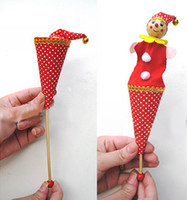 Wholesale Colorized Cartoon Doll The Clown Telescopic Rod Wooden Toy Baby Toys Clown Toys